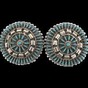 Large Vintage Zuni Sterling Turquoise Needlepoint Pierced Earrings