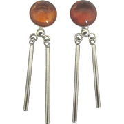 Stunning Sterling Amber Dangle Pierced Earrings