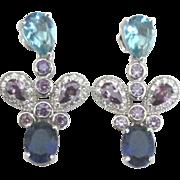 Sparkling Sterling Blue Topaz Amethyst Pierced Earrings