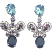 Sparkling Sterling Blue Topaz Amethyst Pierced Earrings