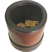 Vintage Leather Pub Shaker Cup with Dice