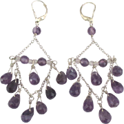 Stunning Sterling Amethyst Chandelier Lever Back Pierced Earrings