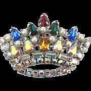 Vintage Rhinestone Faux Pearl Crown Brooch