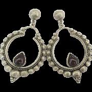 Large Fancy Sterling Garnet Pierced Earrings