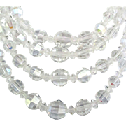 Vintage 4 Strand Graduated AB Crystal Bead Necklace