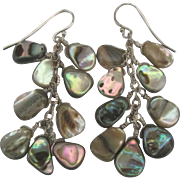 Sterling Abalone Shell Cluster Pierced Earrings