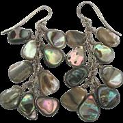 Sterling Abalone Shell Cluster Pierced Earrings