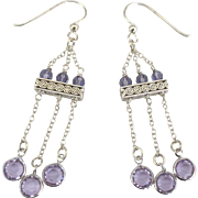 Pretty Sterling Amethyst Chandelier Pierced Earrings