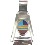 Vintage Signed Zuni Sterling Inlay Pendant