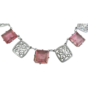 Vintage 1930's Filigree Sterling Czech Pink Glass Necklace
