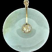Large Vintage 14K Jade Disk Pendant