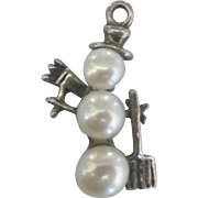 Vintage Sterling Faux Pearl Snowman Charm