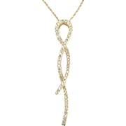 "Elegant 14K YG Diamond Pendant and 20"" Chain"