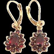 Estate 14K YG Bohemian Garnet Pierced Earrings