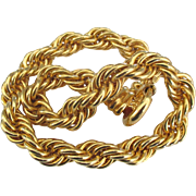 Chunky Thick Twisted Rope Gold Tone Necklace
