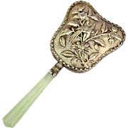 Vintage Ornate Jade Handle Hand Mirror