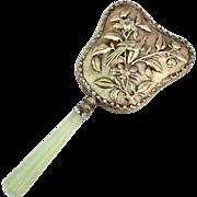 Vintage Ornate Jade Handle Hand Mirror