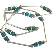 Vintage Sterling Turquoise Bead Necklace
