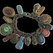 Chunky Egyptian 1980's Sweet Romance Charm Bracelet