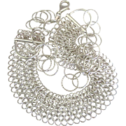Fabulous Vintage Italian Sterling Mesh with Rings Necklace