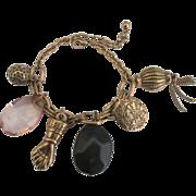 Vintage Gold Tone Figa Fist Charm Bracelet