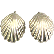 Large Taxco Sterling Clam Shell Pierced Earrings