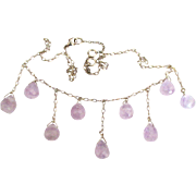 Pretty Sterling Faceted Amethyst Bib Style Necklace