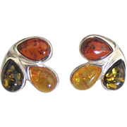 Multi Color Amber Sterling Pierced Earrings