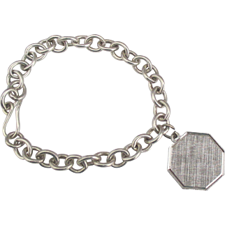 Chunky Sterling Link Bracelet with Charm