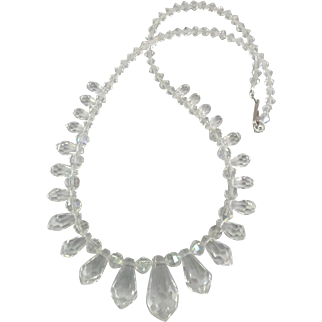 Stunning Vintage Graduated Crystal Tear Drop Necklace