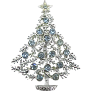 Sparkling Vintage Blue Rhinestone Christmas Tree Pin