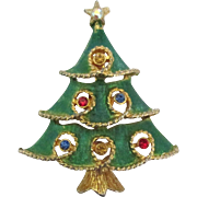 Signed Rhinestone Enamel Christmas Tree Brooch