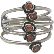 Feminine Sterling Flower Stacking Ring Set- Size 5