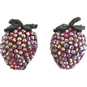 Signed Weiss Rhinestone Strawberry Earrings