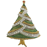 Signed Enamel Rhinestone Christmas Tree Pin