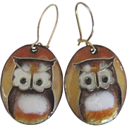 Vintage Enamel Owl 14K Pierced Earrings