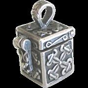 Vintage Ornate Sterling Prayer Box Pendant or Charm