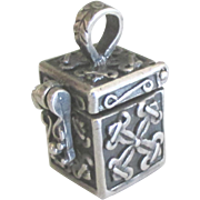 Vintage Ornate Sterling Prayer Box Pendant or Charm