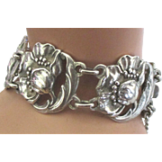 Beautiful Vintage Sterling Flower Blossom Link Bracelet