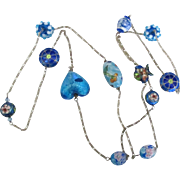 Fabulous Sterling and Art Glass Enamel Bead Necklace- 45 Inches!