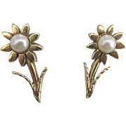 Lovely 14K Pearl Flower Pierced Earrings
