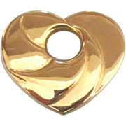 Swirled 14K Puffy Heart Slide Pendant