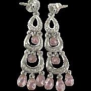 Lovely Sterling Pink Crystal Dangle Pierced Earrings
