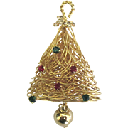 1970's Gold Tone Wire Rhinestone Christmas Tree Pin