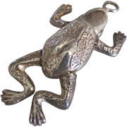 Sterling Mechanical Jointed Frog Charm