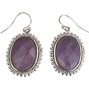 Sterling Cushion Cut Amethyst Pierced Earrings