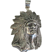 Large Estate Sterling Chief with Headdress Pendant