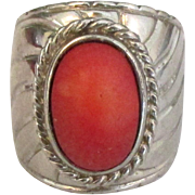 Chunky Sterling Mediterranean Coral Ring