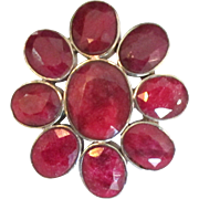 Huge Stunning Sterling Natural Ruby Ring- Size 6