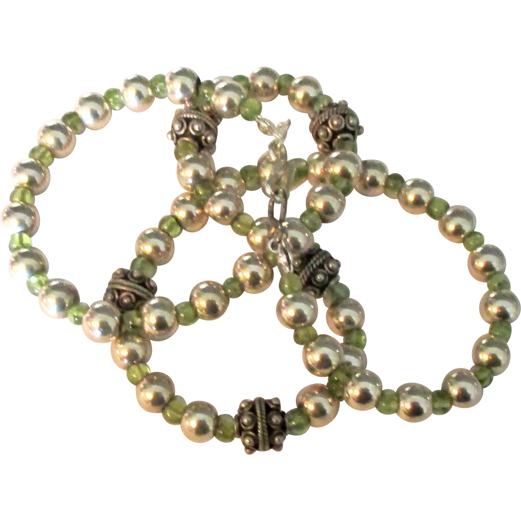 Vintage sterling fancy bead and peridot gemstone necklace for Jewelry making classes san diego